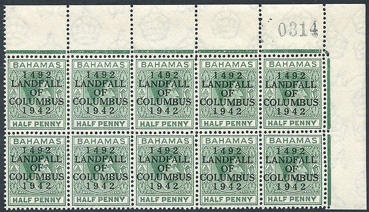 1942 ½d bluish green upper right corner marginal block of ten inc