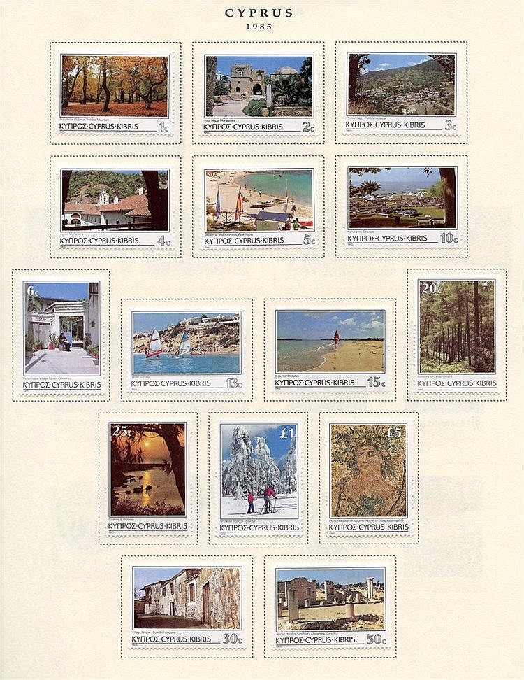 1985-2004 M collection on printed leaves, range of commems & defi