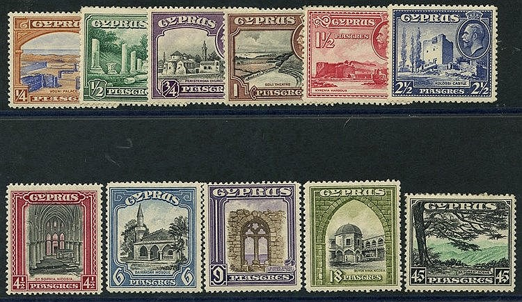 1934 Pictorial Defin set, M (some toning), SG.133/143. (11) Cat.