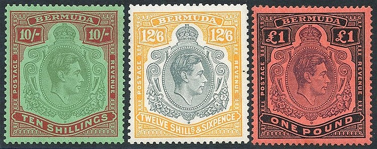 1938-53 10s, 12/6d & £1, fine M - 12/6d has a couple of blunt per
