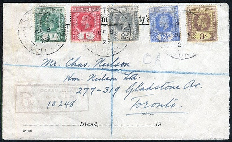 PACIFIC - Gilbert & Ellice Island covers (6) incl. 1923 reg cover