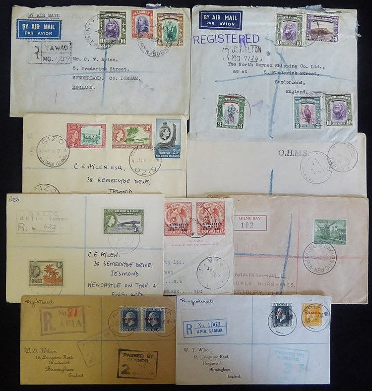 PACIFIC ISLANDS COVERS 20thC interesting group with 1918 pair WWI