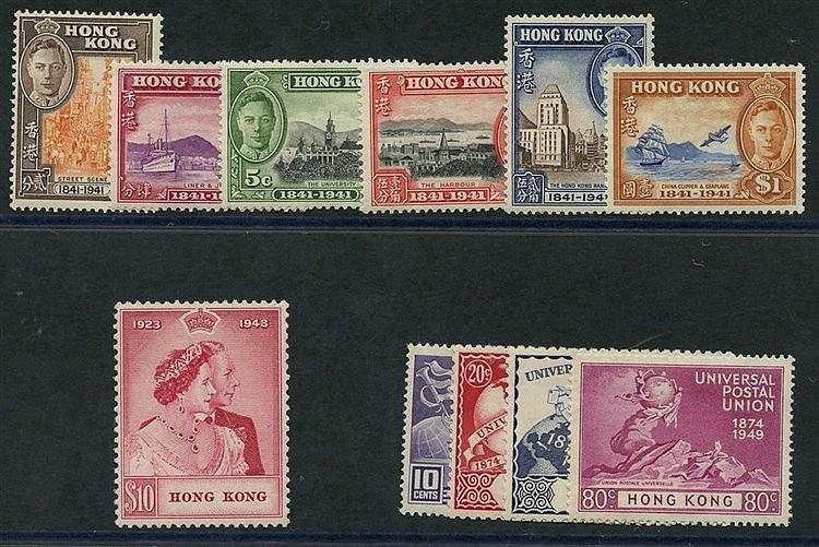 1941 Centenary set, 1948 Wedding $10 & 1949 UPU set, all M. (11)