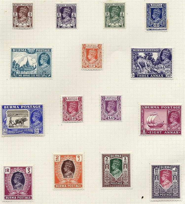 1937-47 M & U collection on leaves incl. 1938 vals to 2r M, 1938