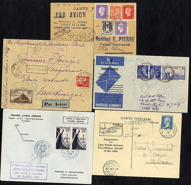 1925-53 first flight covers (5) 1925 Chailloux flight Paris - Mal