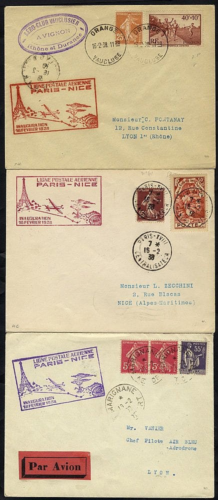 1938 first flight covers (4) comprising Air France/Air Bleu Paris