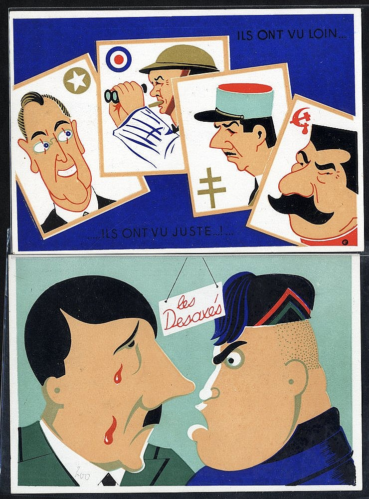 WWII PROPAGANDA CARDS (2) by Lenoir of Cannes entitled 'Les Desax