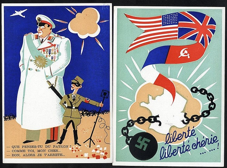 WWII PROPAGANDA CARDS (4) by Lenoir of Cannes celebrating Liberty