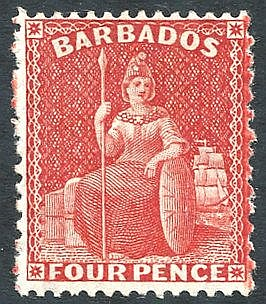 1875-80 Perf 14 x 12½ 4d red, unused with large part o.g, fresh