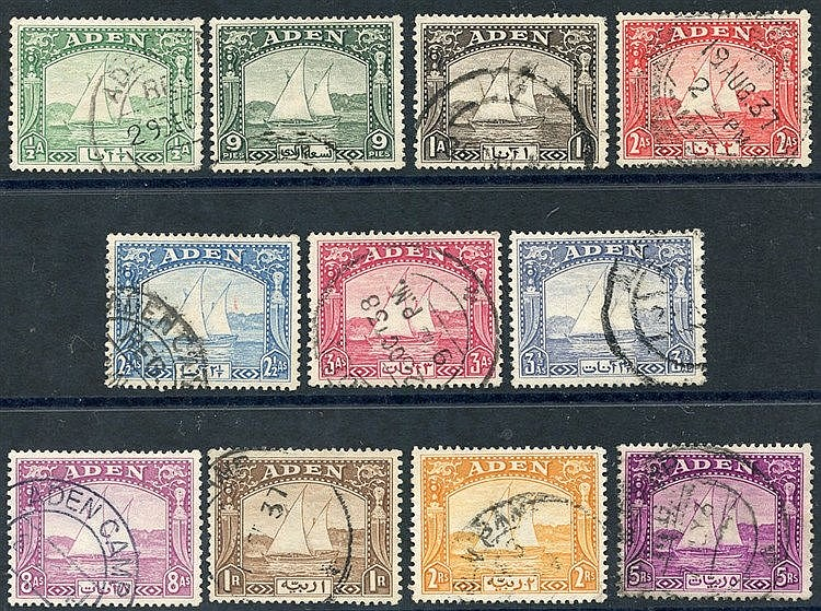 1937 Dhow set to 5r FU, SG.1/11. (11) Cat. £233