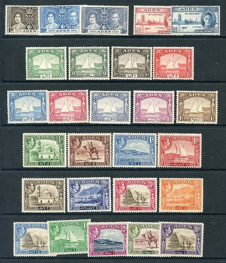 1937 Dhow set to 1r M (1r has tone spots), 1939 Defin set M, also