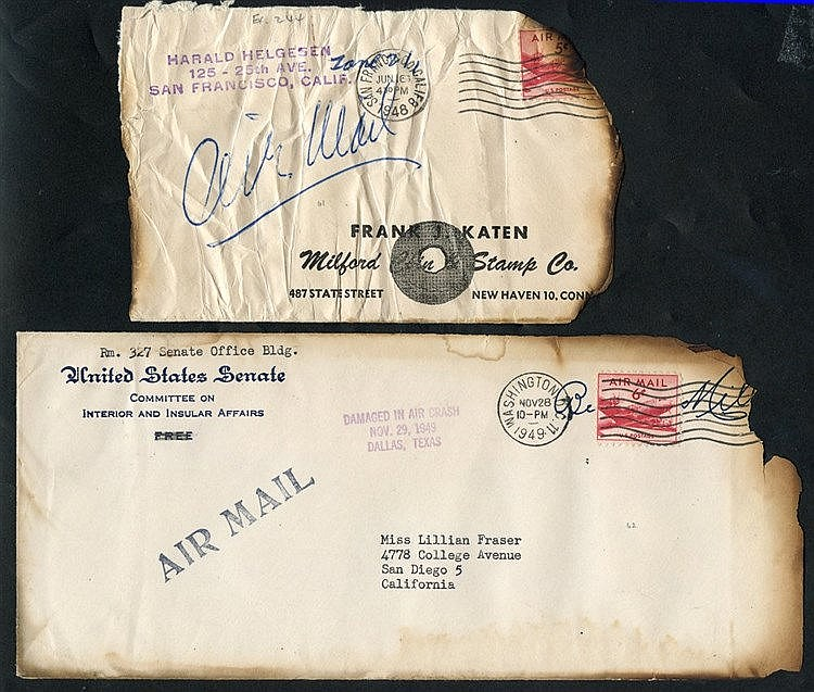 1948-49 United Airlines crash at Wilburton, PA, cover & P.O slip