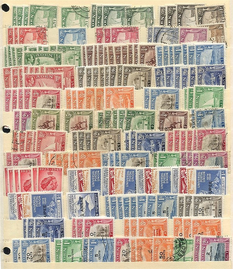 1937-55 duplicated M & U range of 600+ stamps on stock leaves inc