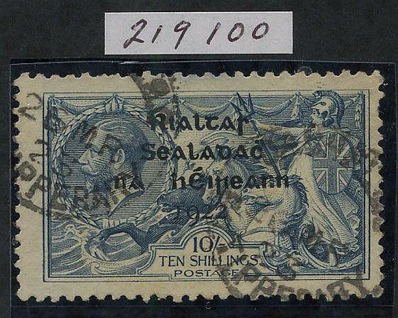 1922 10s dull grey blue optd in shiny blue-black by Thom, good U