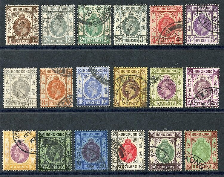 1921-37 MSCA set complete VFU, SG.117/132. (18) Cat. £200