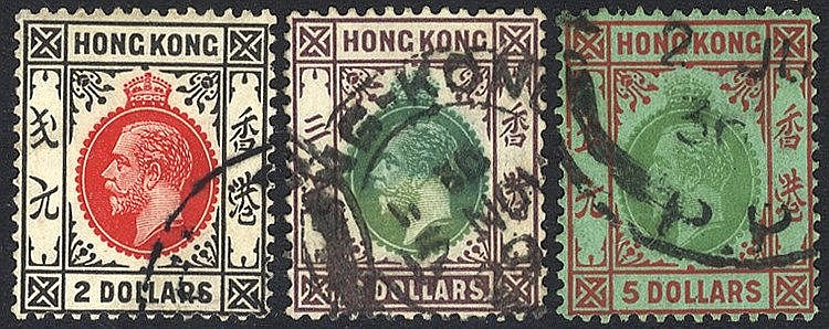 1921-37 MSCA $2, $3 & $5, good to FU, SG.130/2. (3) Cat. £159