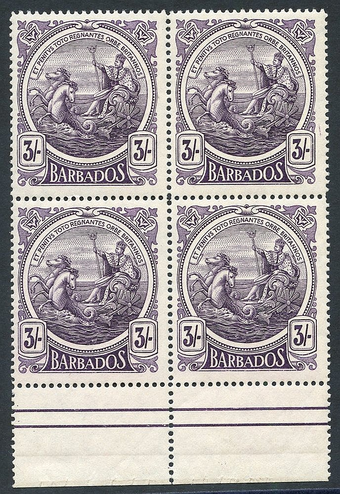 1916-19 3s deep violet, lower marginal block of four UM, SG.191.