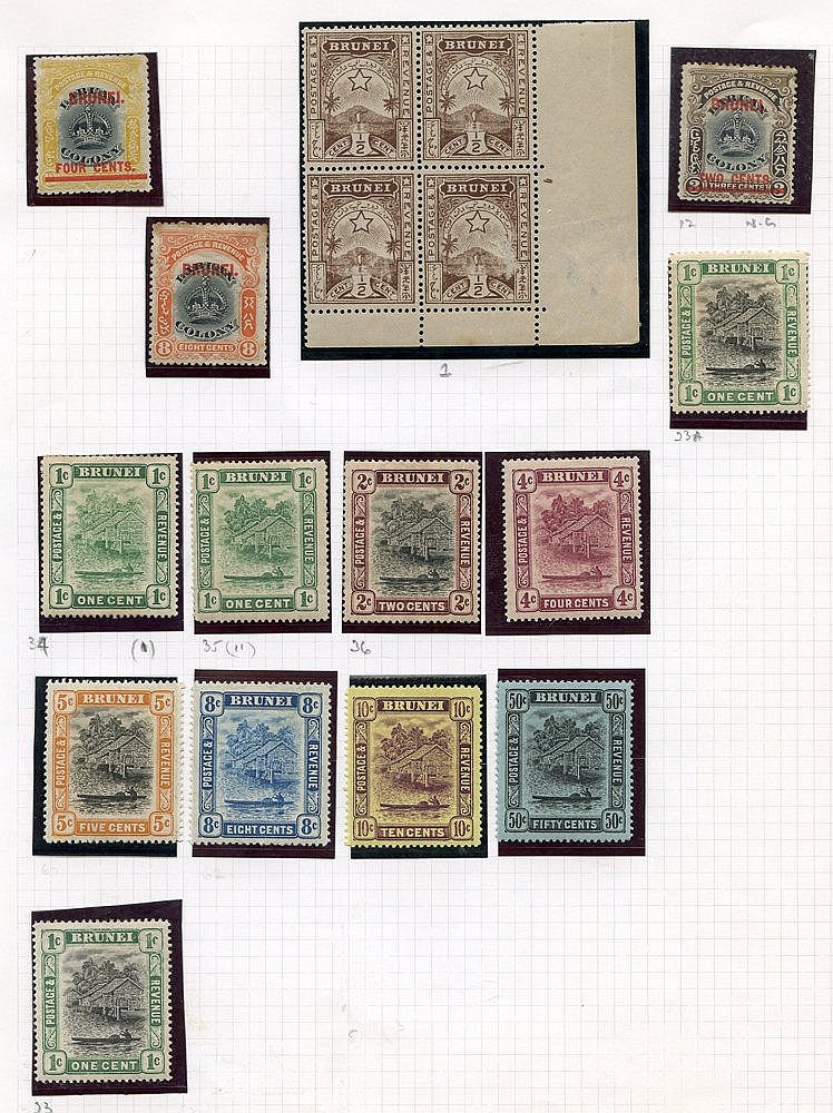 Collection on leaves M with 1895 ½c corner block of four, 1906 2c