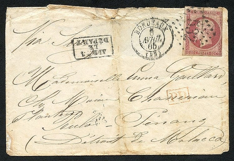1865 env addressed to Poulo - Penang, Malacca bearing French Napo