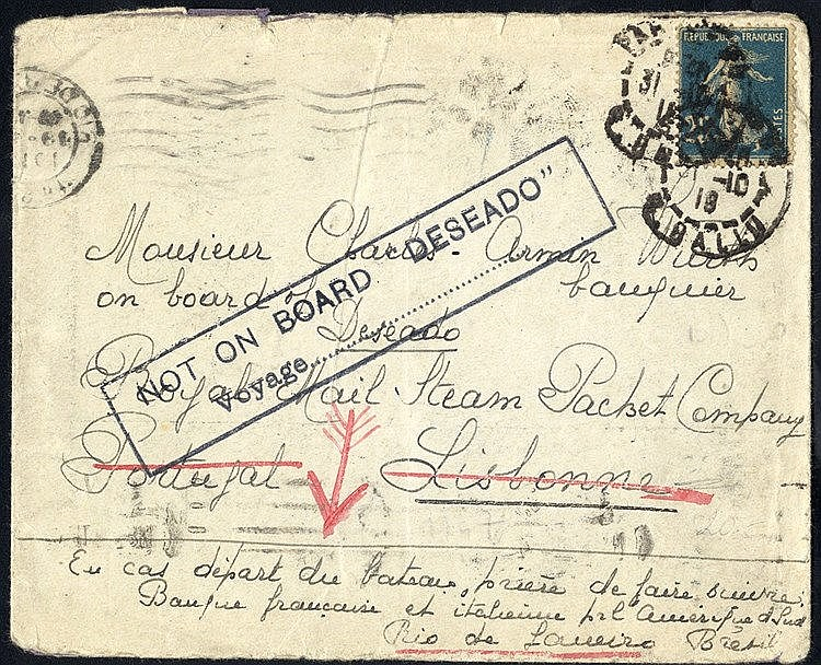 1918 env franked 25c 'Sower' cancelled Paris, to a banker on boar