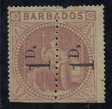 1878 1d Provisional - an unsevered pair reading upwards, unused w