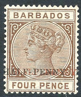 1892 (July) 'HALF PENNY' on 4d deep brown, variety 'surcharge dou