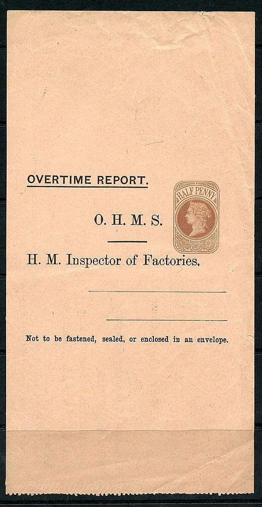 QV ½d brown unused wrapper headed 'Overtime Report' H.M Inspector