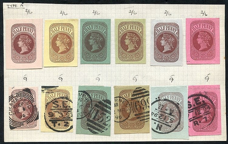 QV ADMIRALTY CUT-OUTS selection of twelve ½d dies on various pape
