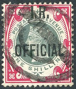 I.R OFFICIAL 1901 1s green & carmine, U with good colours & perfs