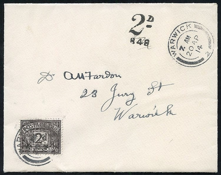 1914 April 20th stampless envelope used locally in Warwick bearin