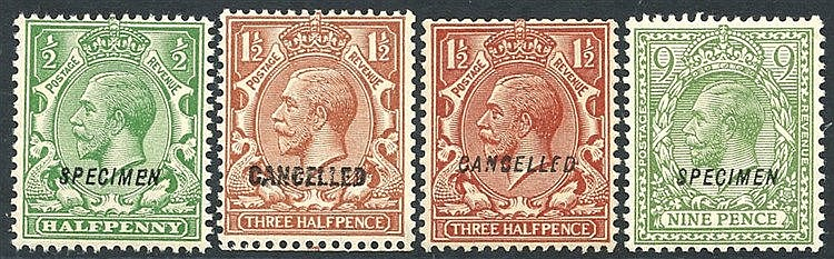 1924 ½d optd SPECIMEN Type 23 UM, 1½d optd CANCELLED Type 28 & 33