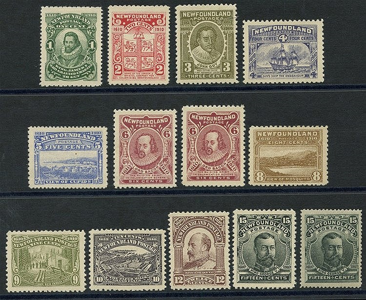1910 Pictorial set, fine M, extra 15c shades (slate green), SG.95