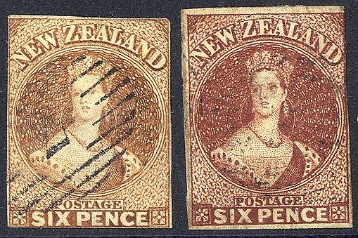 1857-63 6d brown (SG.13), 1863-64 6d deep red-brown (SG.43), both