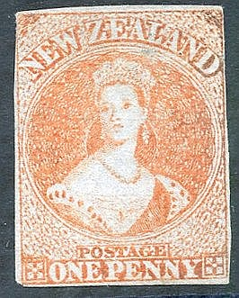 1855-58 blued paper no wmk imperf 1d red, just complete margins,
