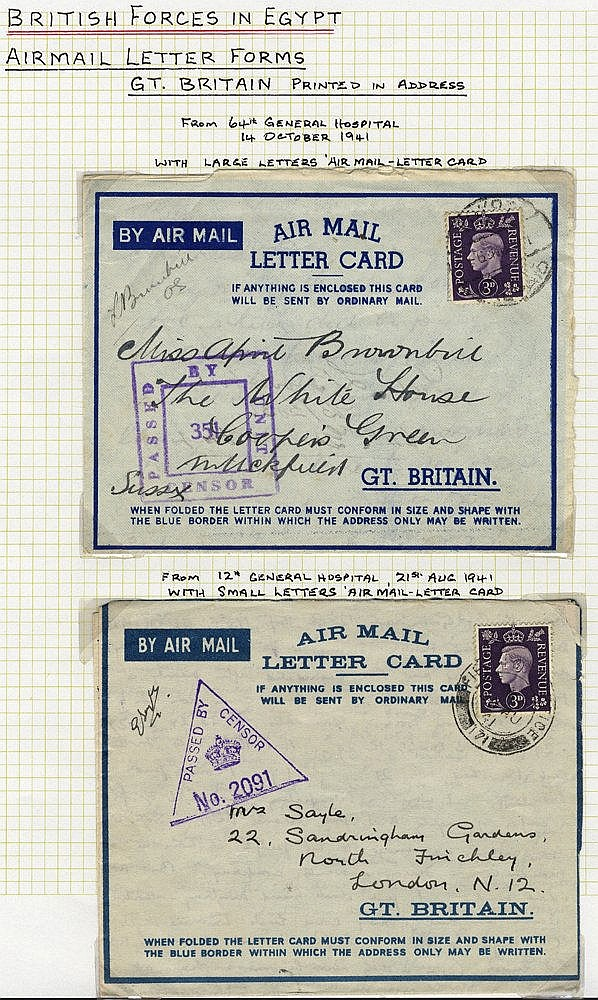 AIRMAIL LETTERS/AEROGRAMMES - British Forces in Egypt (14 items)