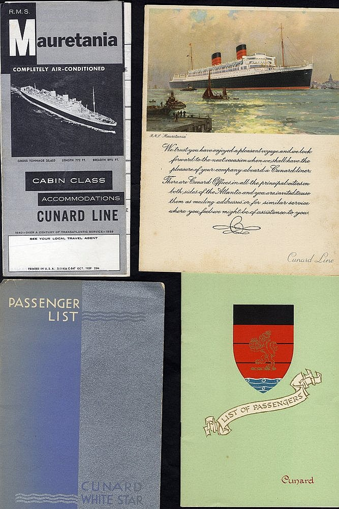CUNARD WHITE STAR LINE 1930's-50's good Mauretania, Queen Mary, Q