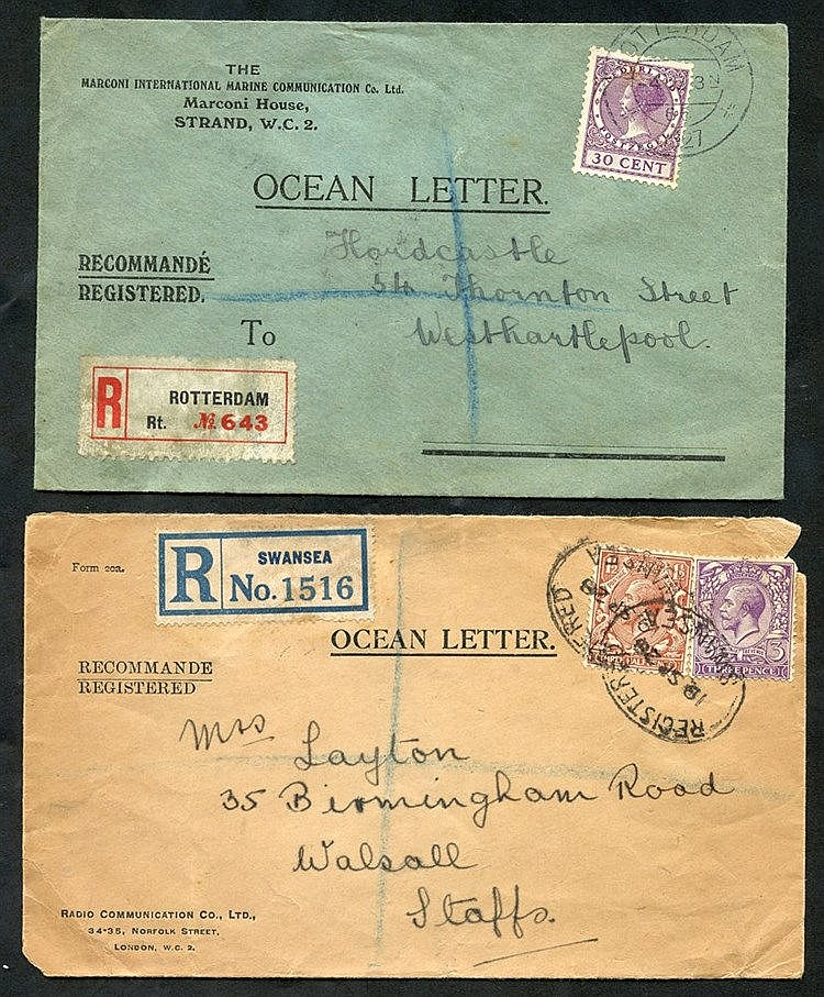 1927 & 1928 OCEAN LETTERS (2) printed envelopes registered from R