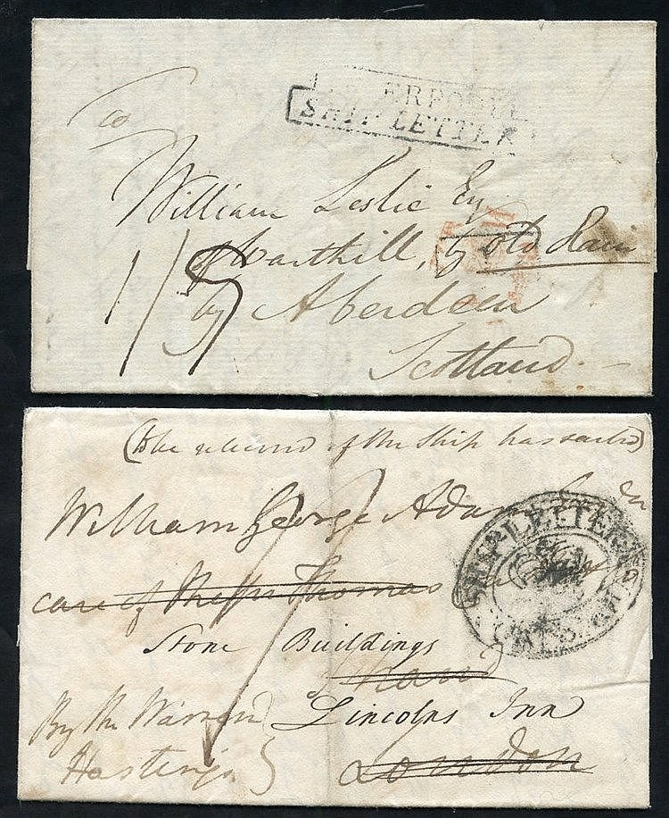1801-53 Ship or Packet letters incl. 1814 entire letters written