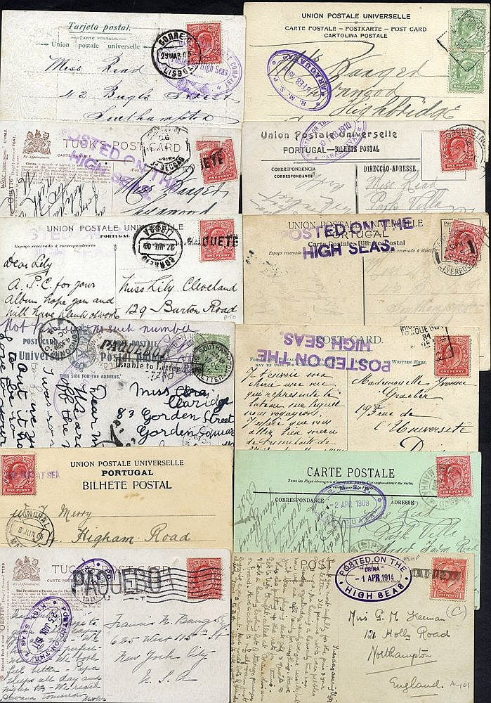 Range of postcards mainly franked with Edwardian 1d with a variet