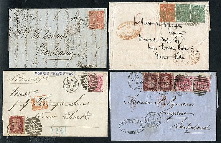 1866-73 four covers comprising 1866 to Lugano, Switzerland, frank