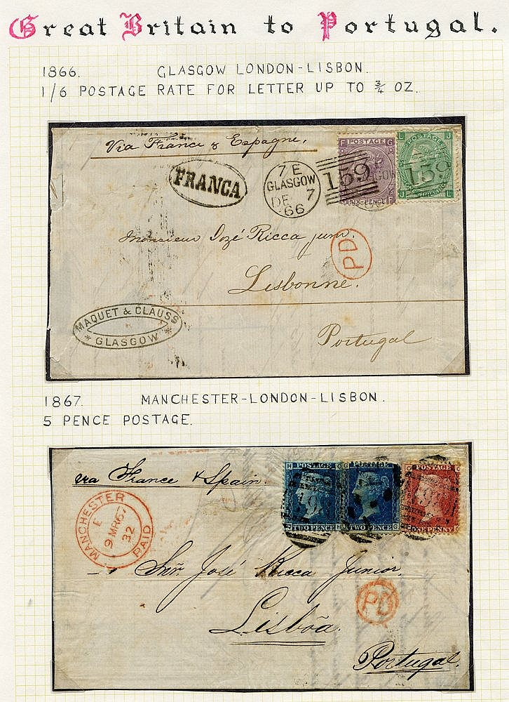 1855-84 entire letters and covers addressed abroad, most bearing