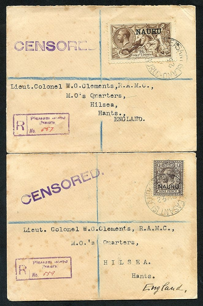 1917 WWI reg. censored covers to R.A.M.C Lieut Colonel in England