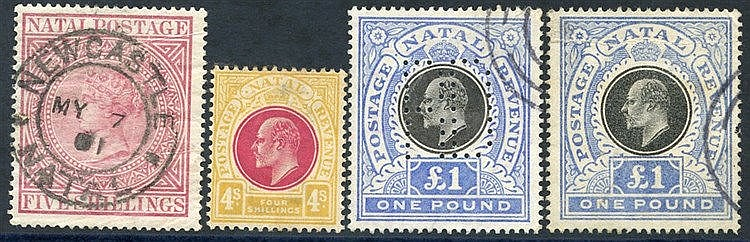 1874 5s maroon FU with Newcastle double ring c.d.s (creasing) SG.