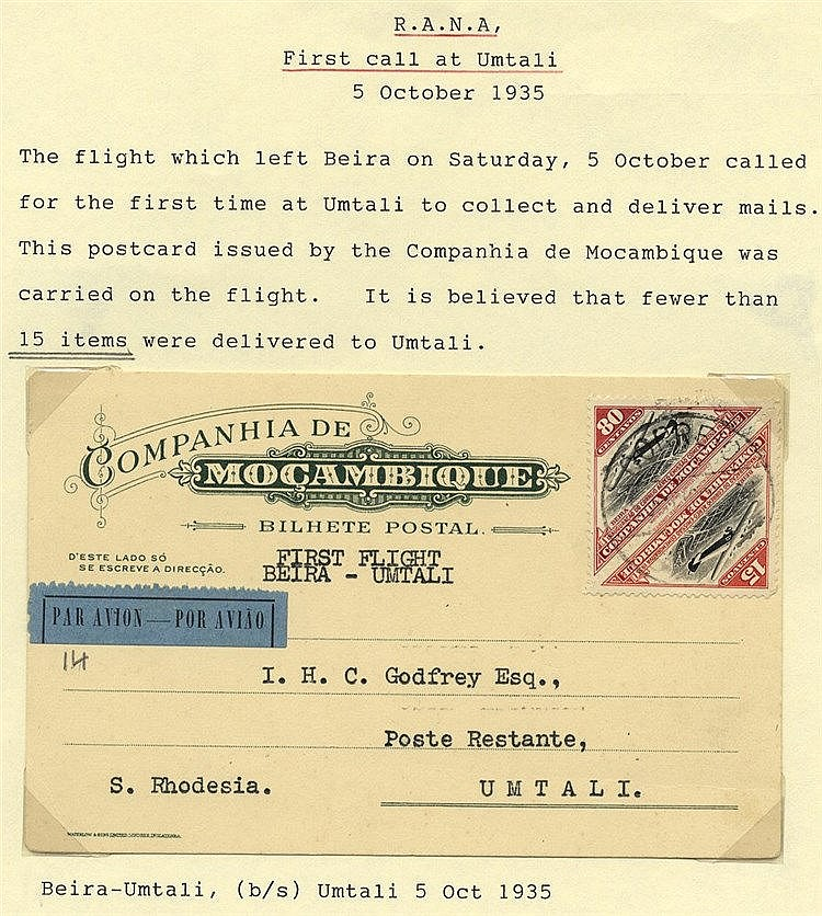 1935 Oct 5th RANA first mail Beira - Umtali, Southern Rhodesia, M