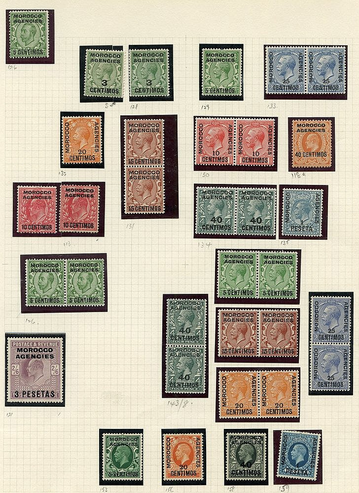 Collection of M on leaves with 1898 vals to 50c, British Currency