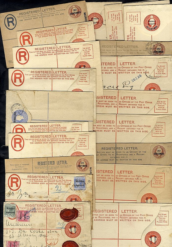 1887-KGV range of registered stationery envelopes, 15 are unused