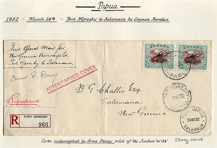 1932 (Mar 23) Port Moresby-Salamaua flown registered cover, signe