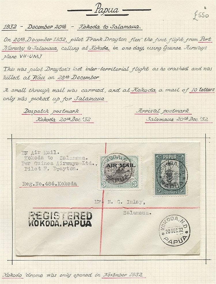 1932 (Dec 20) Kokoda-Salamaua flown cover by F Drayton, fine & ra