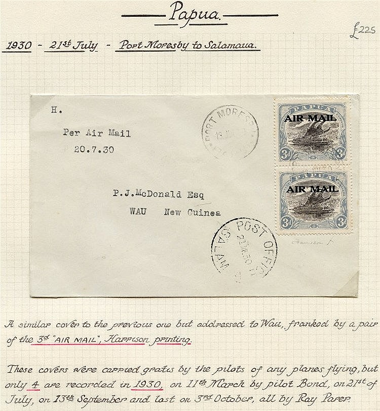 Papua: Airmails: 1930 (July 21) Port Moresby-Salamaua-Wau flown c
