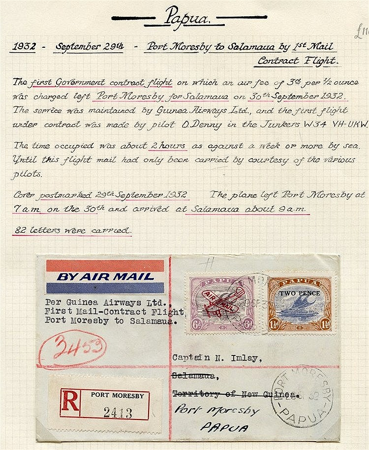 1932 (Sept 30) Port Moresby-Salamaua registered flown cover, fine